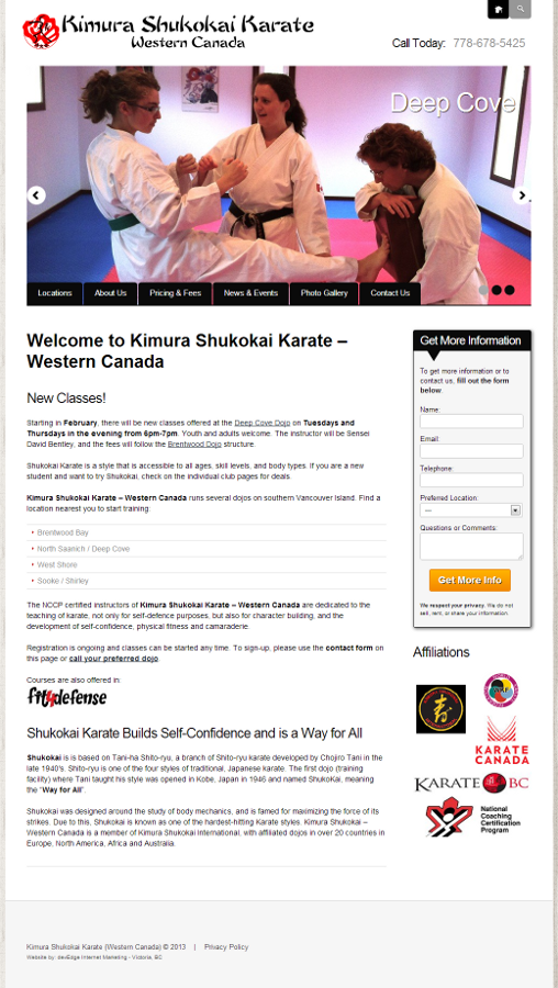 Kimura Shukokai Karate Website by devEdge Internet Marketing