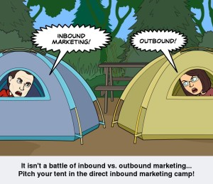 A comic showing that Direct Inbound Marketing is a mix of Inbound and Outbound