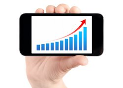 Upwards Marketing Graph on Mobile Phone