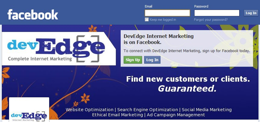 devEdge Internet Marketing Facebook Cover Image Example While Logged Out