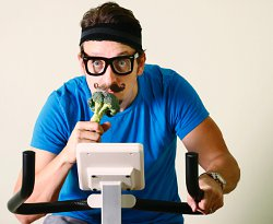 Man Exercising and Eating Veggies But Doesn't Know Why